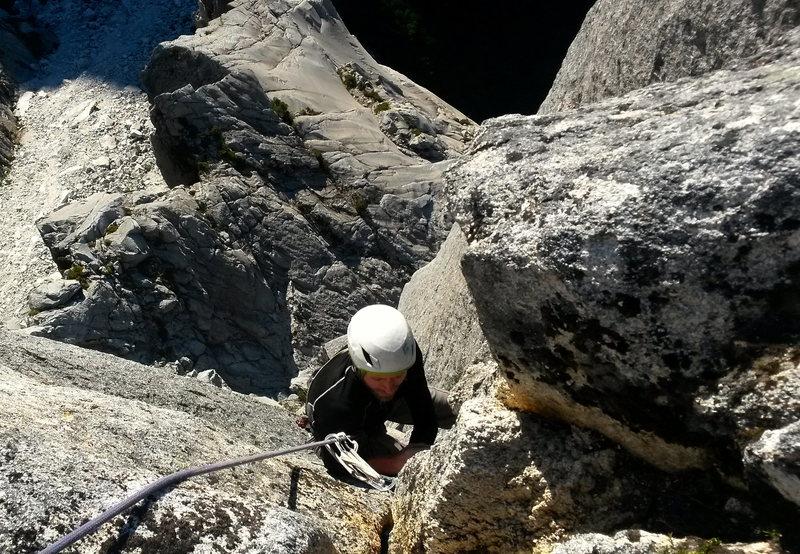 Rock Climbing Photo: last pitch of Send it Like Santa