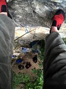 Rock Climbing Photo: looking down from the anchors on soiled dove.