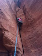 Rock Climbing Photo: Derek leading the way up the pristine dihedral