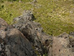 Rock Climbing Photo: View down Bomb Arete. Climber can be seen on the P...
