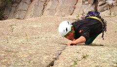 Rock Climbing Photo: Slator on the send! Splitter finger crack, as Slat...