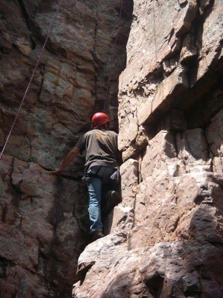 Rock Climbing Photo: My dad climbing the Squeeze a few years back.  Thi...