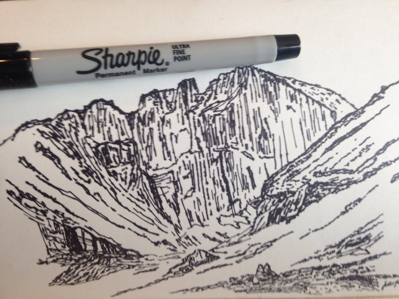 Sketch of the Longs Peak cirque