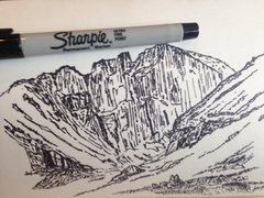 Rock Climbing Photo: Sketch of the Longs Peak cirque