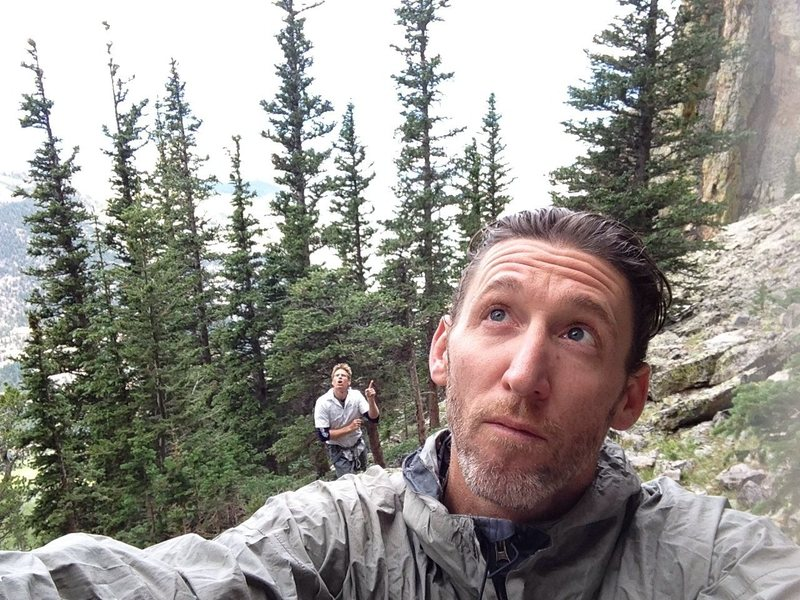 About to head up the Upper Great Face of Twin Sisters; Estes Park, CO. Consulting with Dev . . .