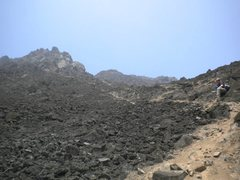 Rock Climbing Photo: Looking up at the trail to Las Placas...plan on a ...