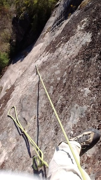 at the end of P3 after linking P2 and P3 on a rope solo ascent.