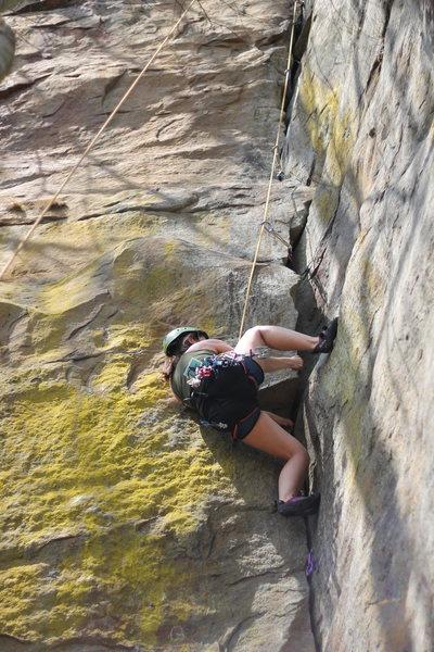 Rock Climbing Photo: Gangsta in green.