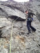 Rock Climbing Photo: Leading up on the FA... Right hand on a killer jug