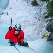 Rock Climbing Photo: Clay cleaning on the second pitch of The Professor...
