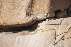 Rock Climbing Photo: Two unknown climbers on the brutally hard start.