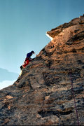 """Rock Climbing Photo: Hand-drilling the 3rd bolt on the FA of """"The ..."""