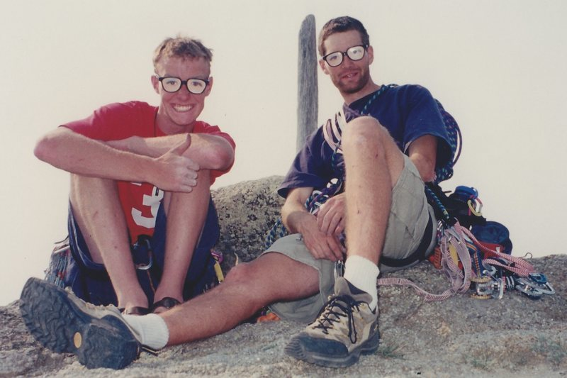 Rock Climbing Photo: Scooter and I on the summit of Devil's Tower, Summ...