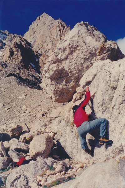 Phil bouldering on the Lower Saddle, June 2000.