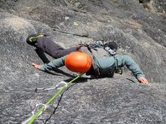 Rock Climbing Photo: Will on the first 10b crux of Condorphamine Addict...
