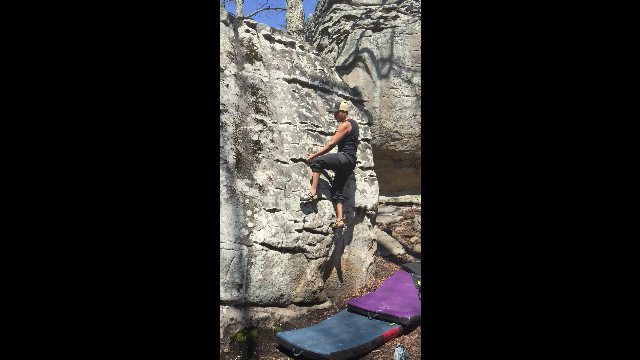 Mario on the infamous underclings of this fun V3 boulder problem in the front area of LRC.