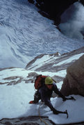Rock Climbing Photo: Nearing the top of the snow ramp on Willans Route,...