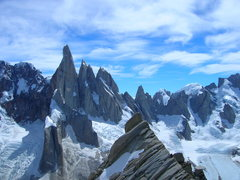 Rock Climbing Photo: Wheres Waldo?..nearing the summit of Aguja De La S...
