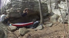 Rock Climbing Photo: Securing the heel hook, trying to avoid the infamo...