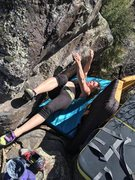 Rock Climbing Photo: Jess starting Black hook