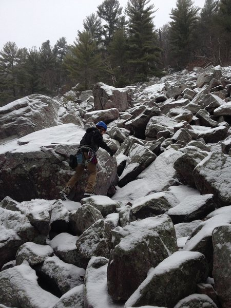 Navigating some talus on the way to Dead Tree Wall