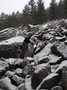 Rock Climbing Photo: Navigating some talus on the way to Dead Tree Wall