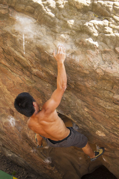 Rock Climbing Photo: Wei working the crux of Outlaw.