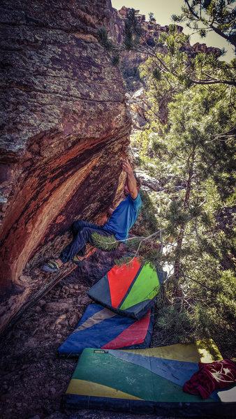 Rock Climbing Photo: One move deep, walking the feet over to gain the e...