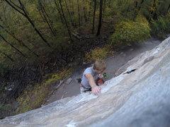 Rock Climbing Photo: Bon Voyage 11b in the canyon
