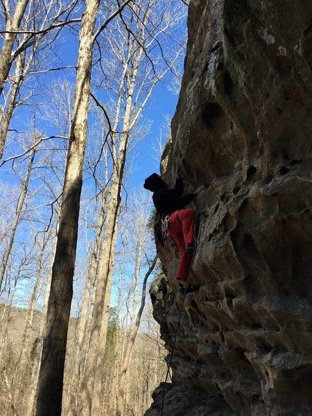 Rock Climbing Photo: Mason pulling down on Spank you very much.