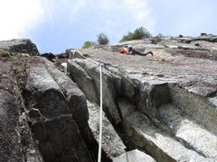 Rock Climbing Photo: Todd on the traverse on Pitch 2 of Lovin' Arms.