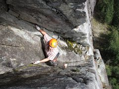 Rock Climbing Photo: Brent climbing the chimney on Pitch 2 of Lovin' Ar...