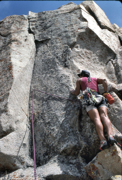 """Marc Hill about to lead """"Hidden Technology"""" (5.11a lb) in August 1990"""