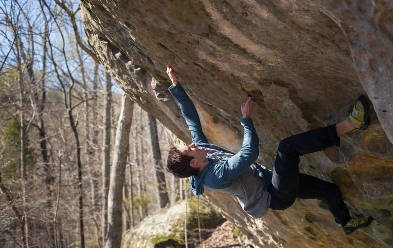 Rock Climbing Photo: Local climber working up the steep section of Drop...