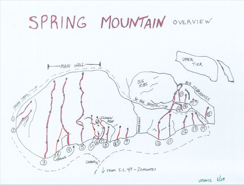 Spring Mountain Climbs (as of 2009)<br> 1) Trophy Wife 5.10b<br> 2) Ultimtum 5.9<br> 3) Wild Rosy 5.10+<br> 3.5) Pastor of Muppet 5.10a<br> 4) Other Side of the Tracks 5.10b<br> 5) Erocktica 5.10a (30 meter descent route to the right)<br> 5.5) Rolling Thunder 5.9<br> 6) Non-Ultra Project<br> 7) Cloven Hoof 5.9<br> 8) Straight Creek Boogie 5.8+/5.9<br> 9) By Invitation 5.8?<br> 10) Romantica 5.10b/c<br> 11) TickTock 5.10b<br> 12) Juggernaut Project<br> 13) Dodge Dart 5.8+<br> 14) Shapely Apes 5.7<br> 15) 5.11 Project (currently open, anchors at top)<br> 16) Regularis 5.9<br> 17) 5.11 Project (roof, Arete)<br> 18) Strawberry Creampuff - Bolts up to beneath arch, looks friable beyond, nice dry portaledge hangout<br> 19) Williams/Karner A3<br> <br> Provided by Mark Hanna, used with permission.