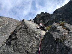 Rock Climbing Photo: Moving into the crux on P2