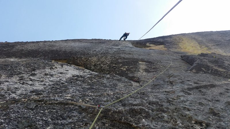 Rock Climbing Photo: Brian Prince sending the crux, with the fixed line...