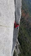 Rock Climbing Photo: Climbing up the clean corner on the 7th pitch.