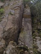 Rock Climbing Photo: The OW of pitch two. The fixed rope in the photo i...