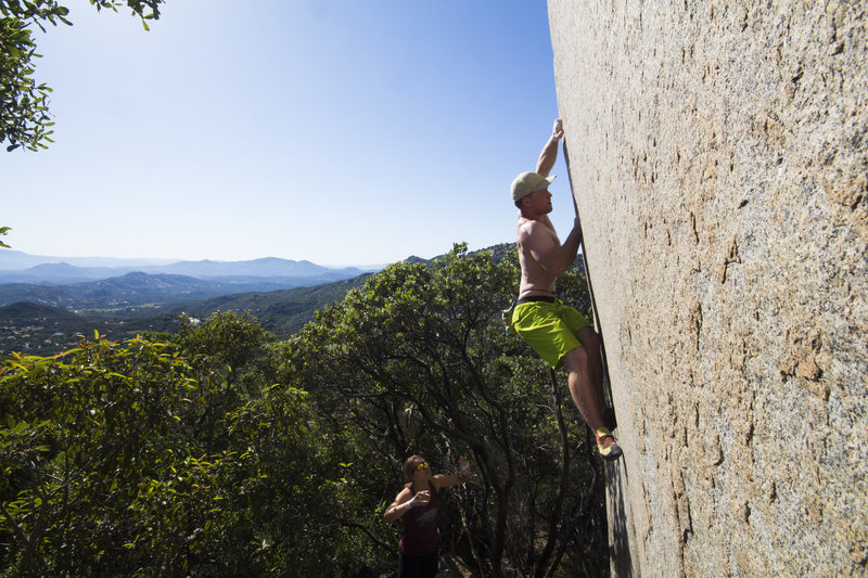 Rock Climbing Photo: Bill Dabbert fighting to the crux.
