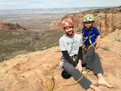 Matt and Bayes on the summit. First desert tower for this little 4-year old!