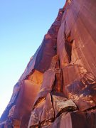 Rock Climbing Photo: The clean right facing corner. Wade on the FA