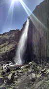 Ephemeral falls on west side of East Quarry due to major snow melt from mesa top.