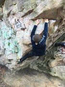 Rock Climbing Photo: Will Patterson on Left Ventricle v3 at Moss Rock