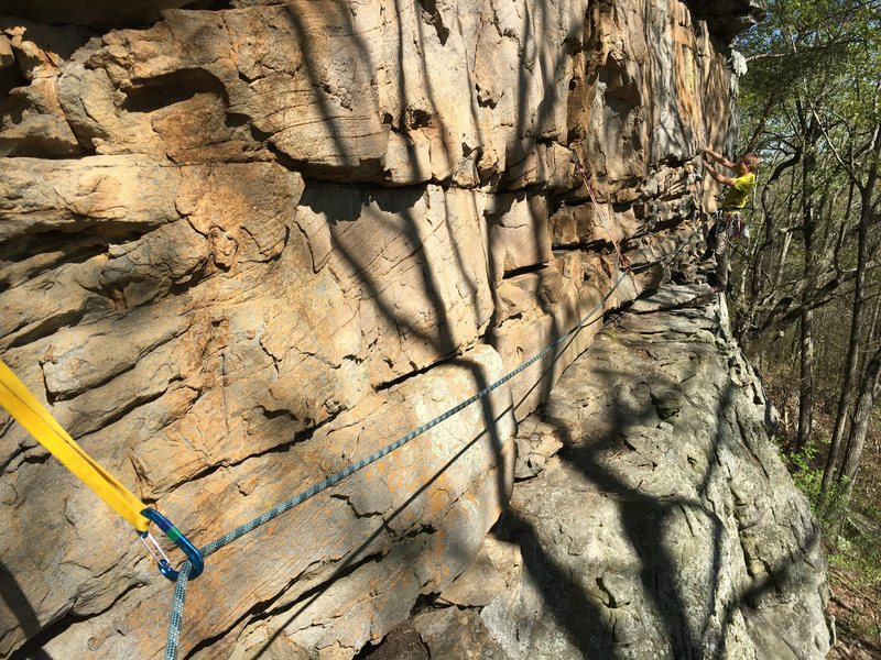 Chris Sanders leading the pitch 2 traverse on Mountaineer's Route