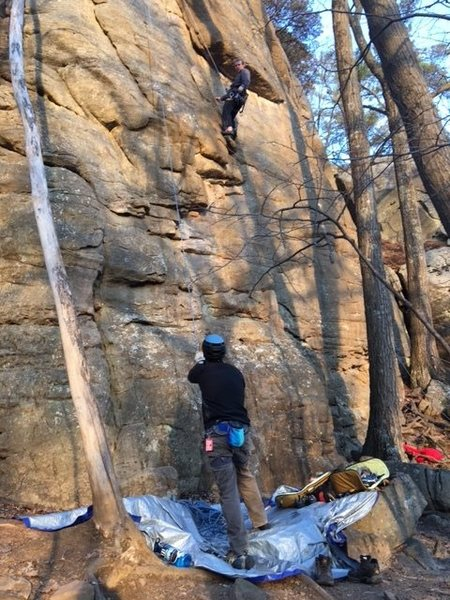 Me belaying Chris at the Old Sandstone Area.