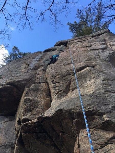 Jenna climbing Tarantula 5.10b