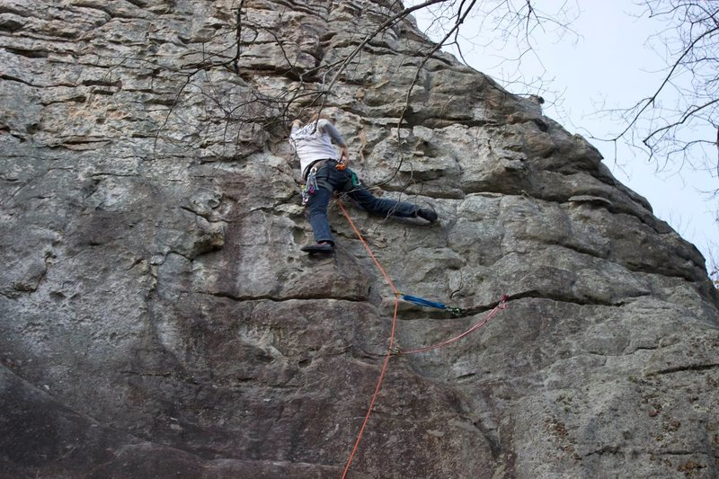 Rock Climbing Photo: Chris Sanders leading Knob Wall