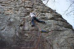 Rock Climbing Photo: Chris Sanders leading Knob Wall