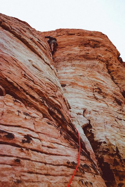 Rock Climbing Photo: starting up the trough on the second pitch